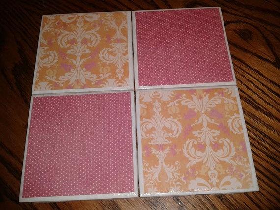 Pink & Orange Damask Coaster Set
