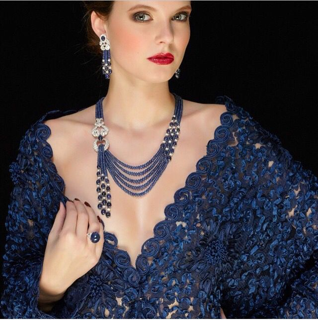 Sapphire set by Schreiner high jewellery via@levantonline