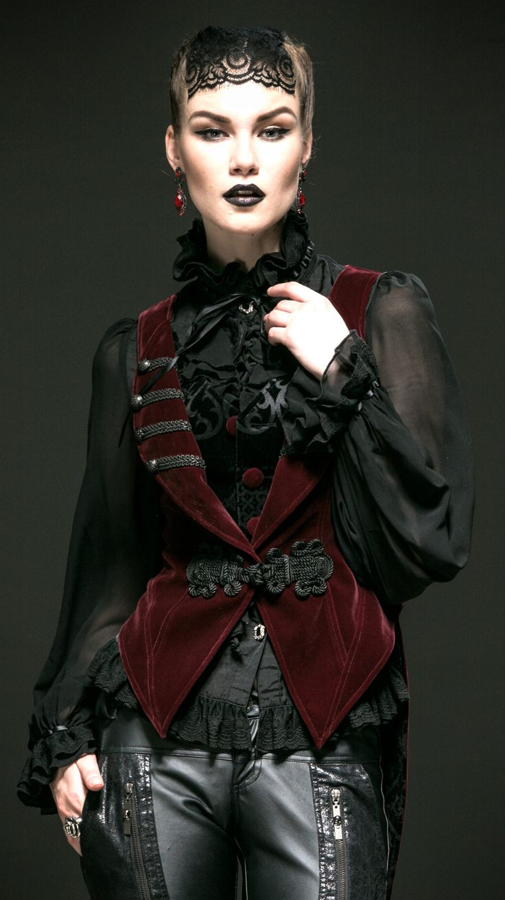 Red waistcoat detachable magpie tail elegant gothic Punk Rave Y-539   Shop : www.steampunk-story.com