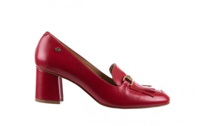 Bayla 156 3300 Czerwone 18 Czerwone Czolenka Na Klocku Marki Bayla Z Linii Exclusive Wykonane Z Naturalnej Skory Licowej Shoes Pumps Heels