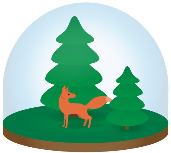 Vector illustration. Lonely fox in a glass globe sphere forest. Graphics.