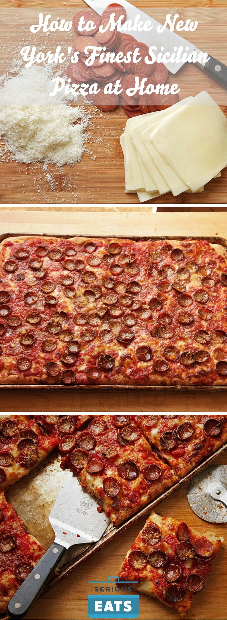 A spicy, cheesy, well-risen square pizza with crispy chalices of pepperoni.