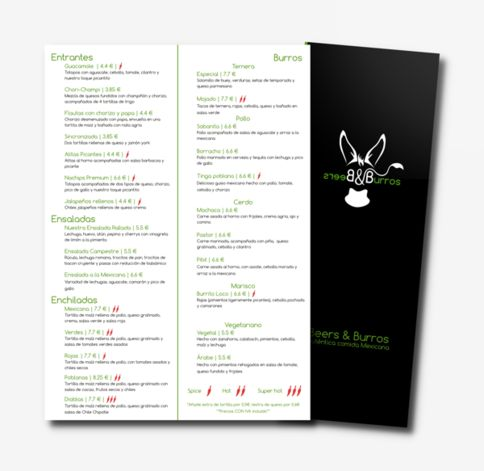 Carta de menú: beers and burros