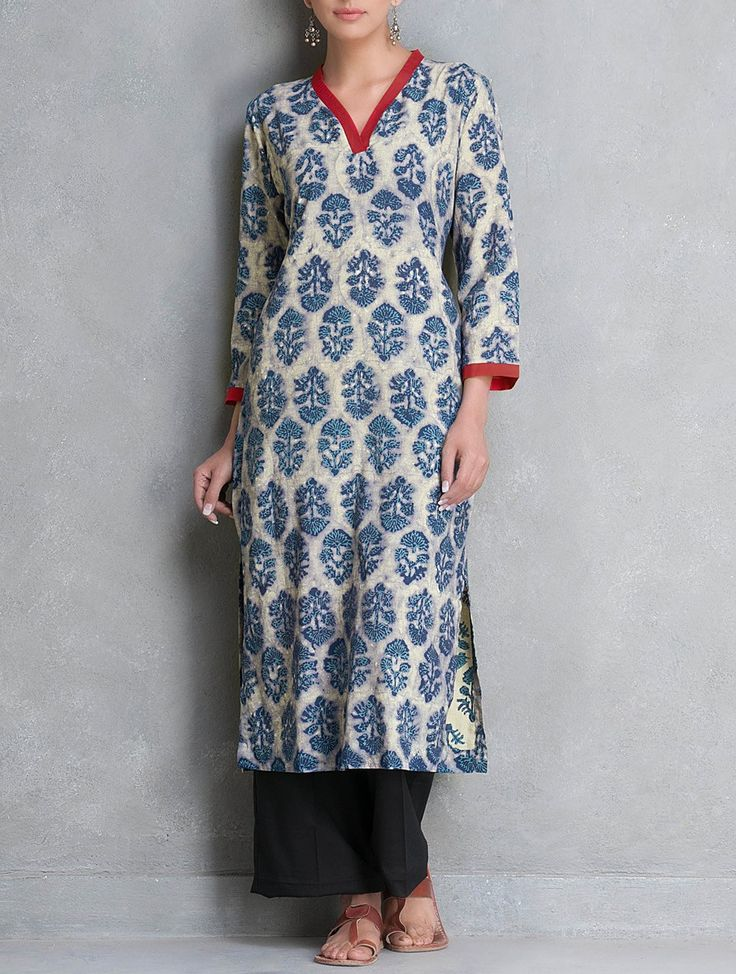 Buy Blue V Neck Dabu Printed Cotton Kurta by Lavanya Apparel Tunics & Kurtas The Story Pants Palazzos Online at Jaypore.com