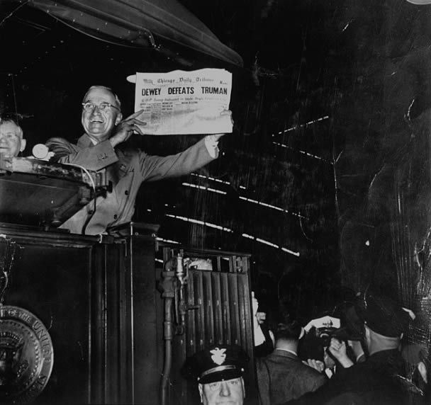 "This is probably the world's most famous newspaper error. Harry Truman was expected to lose the presidential election in 1948. Here, he is seen holding a copy of the Tribune, with its bold headlines – ""Dewey Defeats Truman."""