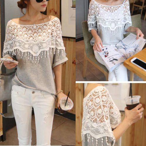 Vogue-Sexy-Womens-Hollow-Lace-Crochet-Batwing-Short-Sleeve-T-Shirt-Blouse-Top