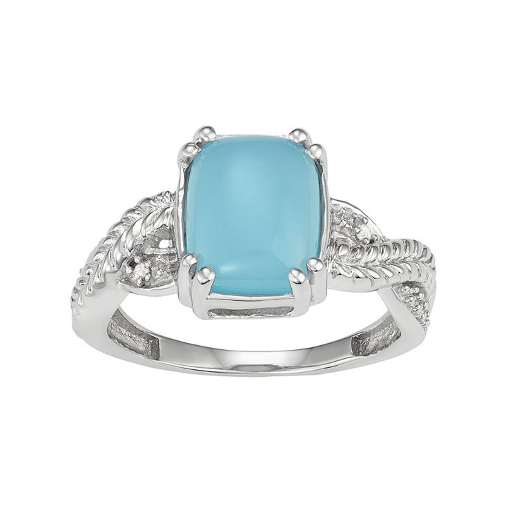 Sterling Silver Blue Chalcedony Cabochon & Diamond Accent Ring, Women's, Size: 6