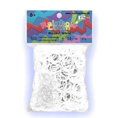 Rainbow Loom Wit met 24 clipjes. Nieuwste rage, wees er snel bij! Maak met de clips en elastiekjes de mooiste armbandjes en accessoires. Dit zakje bevat maar liefst 600 witte elastiekjes en 24 clips.  http://www.planethappy.nl/rainbow-loom-wit-met-24-clips.html