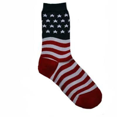 Patriotic Red White Blue American Flag Socks Luxury Divas. $9.99. Blend. These bring out the patriot in all of us.. Great novelty gift.. Hooray for the red, white and blue.. Imported. To top these socks off, we have a navy background surrounded by white sparkly stars and red and white stripes throughout the rest of this sock.