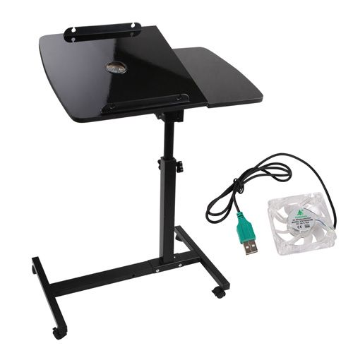 This 360° rotating mobile Laptop Stand with USB Cooler can turn anywhere you want into an instant workplace.  http://www.rosaelonline.com.au/product/rotating-mobile-laptop-adjustable-desk-usb-cooler-black/