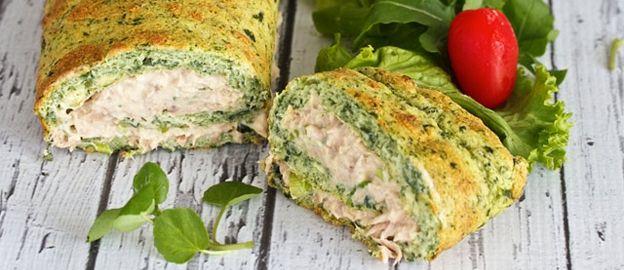 Spinazie pannekoek met verse tonijnsalade