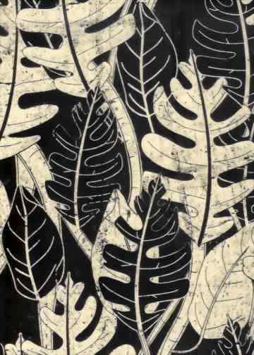 batik Tropical Hawaiian leafy screen-printed batik, cotton apparel fabric.