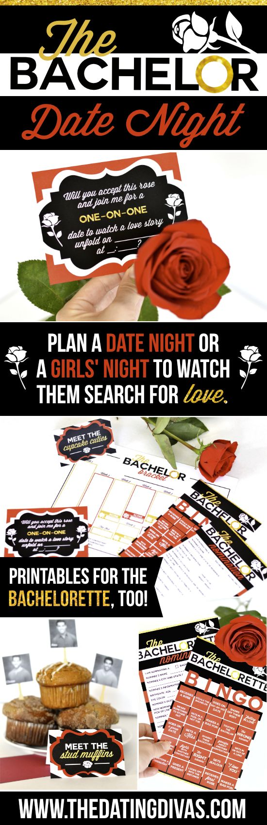 The Bachelor Viewing Party Date Night- fun printables to make it a fun night!