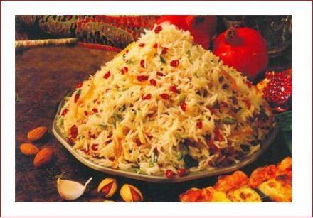 Riz au safran, poulet, zeste d'orange et pistache - Shirin Polo