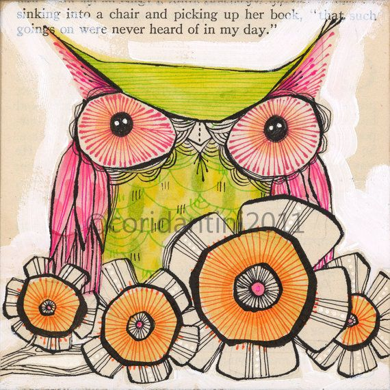 green and pink owl - illustration - archival watercolor