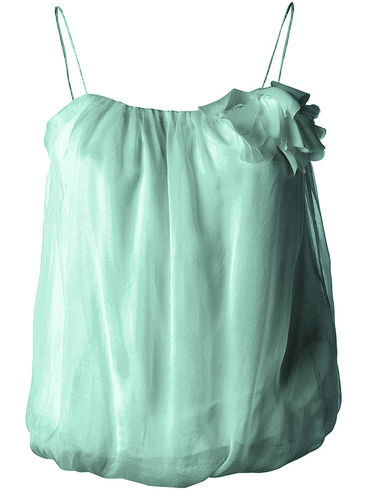 Lanvin spaghetti strap draped blouse aqua color 2148802 purchased at TSUM discount 15300 rubles