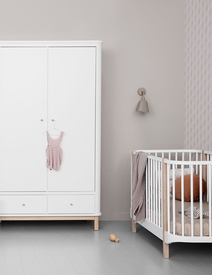 Wood Collection wardrobe with 2 doors and Wood Cot bed by Oliver Furniture