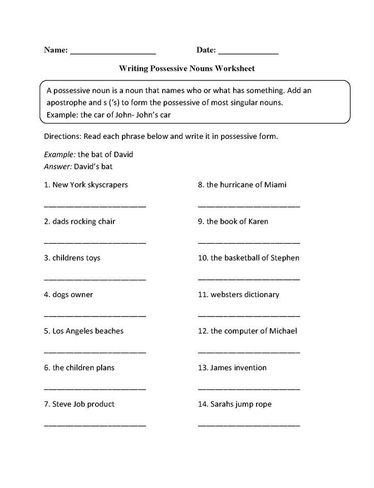 Writing Possessive Nouns Worksheet