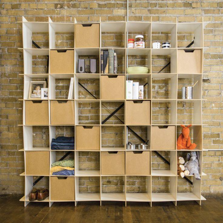White 49 Cubby Storage Shelf with bins against wall
