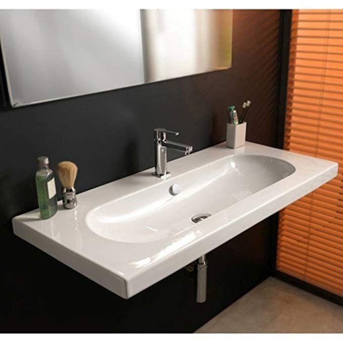 Edo Wide 39 57 Rectangular Ceramic Wall Mounted Sink With