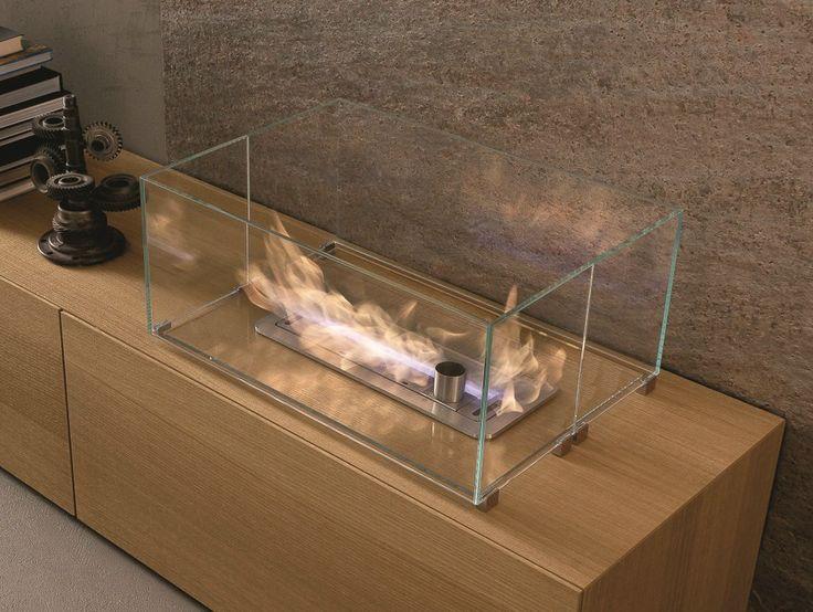 Chimenea abierta empotrada de bioetanol Colección I-modulART by Presotto Industrie Mobili | diseño Pierangelo Sciuto