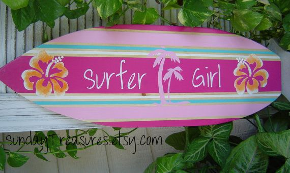 27 inch Surfboard Wall art Beach Surfer Girl. by SundayTreasures.etsy.com