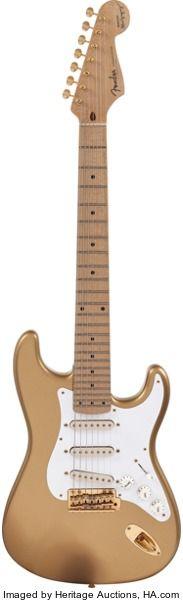 Musical Instruments:Electric Guitars, Circa 1990s Fender Maestro Alex Gregory Signature StratocasterShoreline Gold Solid Body Electric Guitar, Serial #MAG0002....