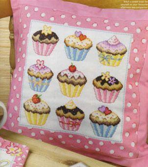 Cupcakes cross stitch cushion chart, £4.50