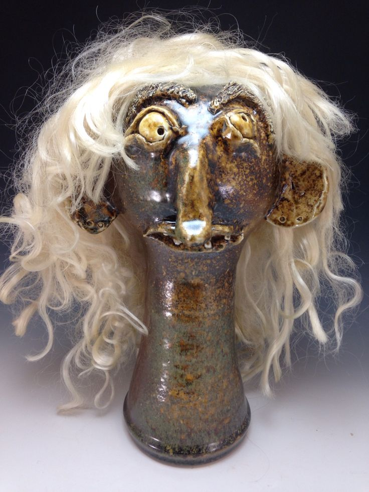 who doesn't need a place for their #wig #wigstand #facejug #folkart #lowellwebb