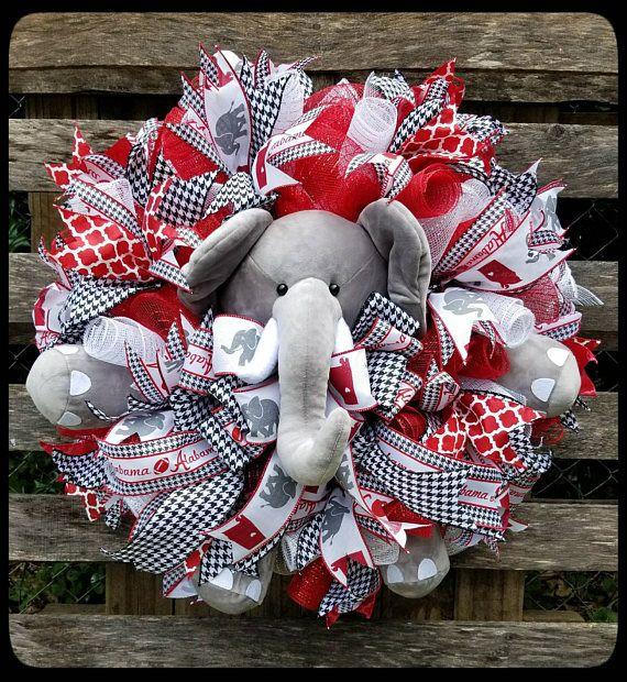 Alabama Wreath, Elephant Wreath, Houndstooth Wreath, Football Wreath, Roll Tide Roll, Roll Tide Wreath, UA Wreath, Big Al Wreath, Collegiate Wreath, DIY Wreath, Tuscaloosa Wreath, Outdoor Wreath, Mesh Wreath, Deco Mesh Wreath, Big Al, Alabama