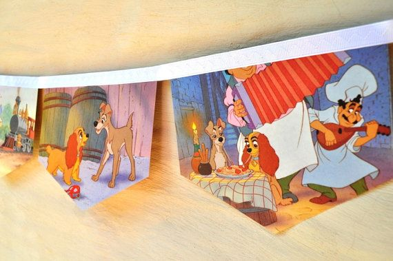 LADY and THE TRAMP Vintage Little Golden Book Bunting Children Paper Party Decoration nursery story book banner eco friendly re-purposed