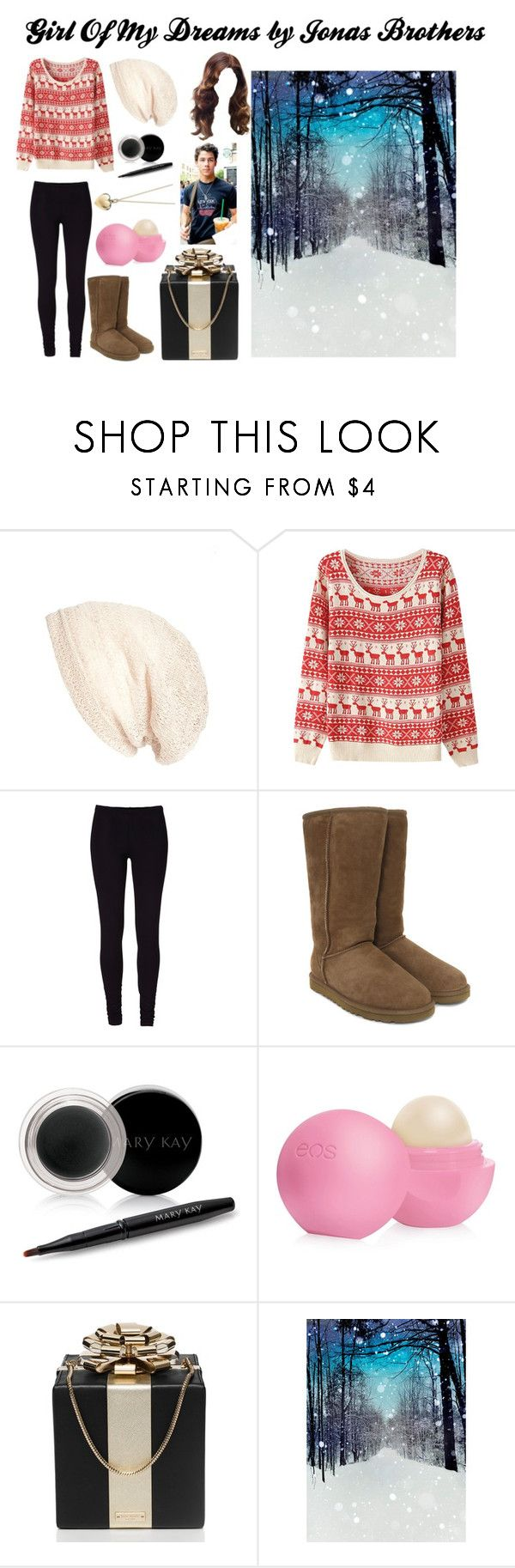 """""""Girl Of My Dreams ~ Jonas Brothers (Part 1)"""" by redheadmahomiemidnightredaustin ❤ liked on Polyvore featuring Cara, UGG Australia, Mary Kay, Eos, Kate Spade, WALL and Tiffany & Co."""