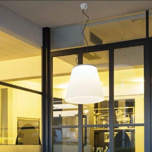 "VULCANONE OUT A pendant light that erupts its brilliant ""flame"" upwards and shower down a deluge of light"