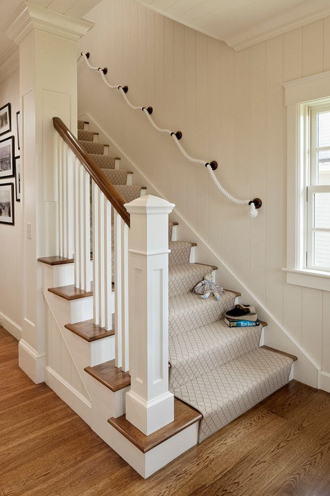 nice window casing stringer on stair and crown molding in this small shingle beach cottage - Cottage Design Ideas