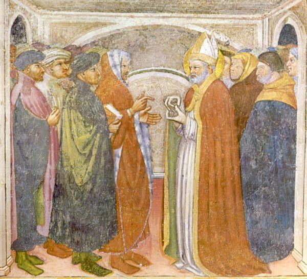 St. Augustinus van Hippo. - 1420/30(?) Plafondschildering door Ottaviano Nelli. Italië, Gubbio, Sant 'Agostino Augustinus in gesprek met Simplicianus.