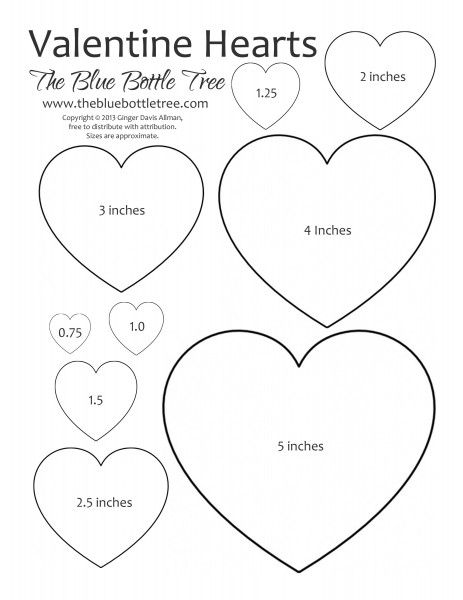 "Valentine Heart Printable ClipArt full sheet with nine sizes ranging from 3/4"" to 5"", available in letter and A4 sizes."