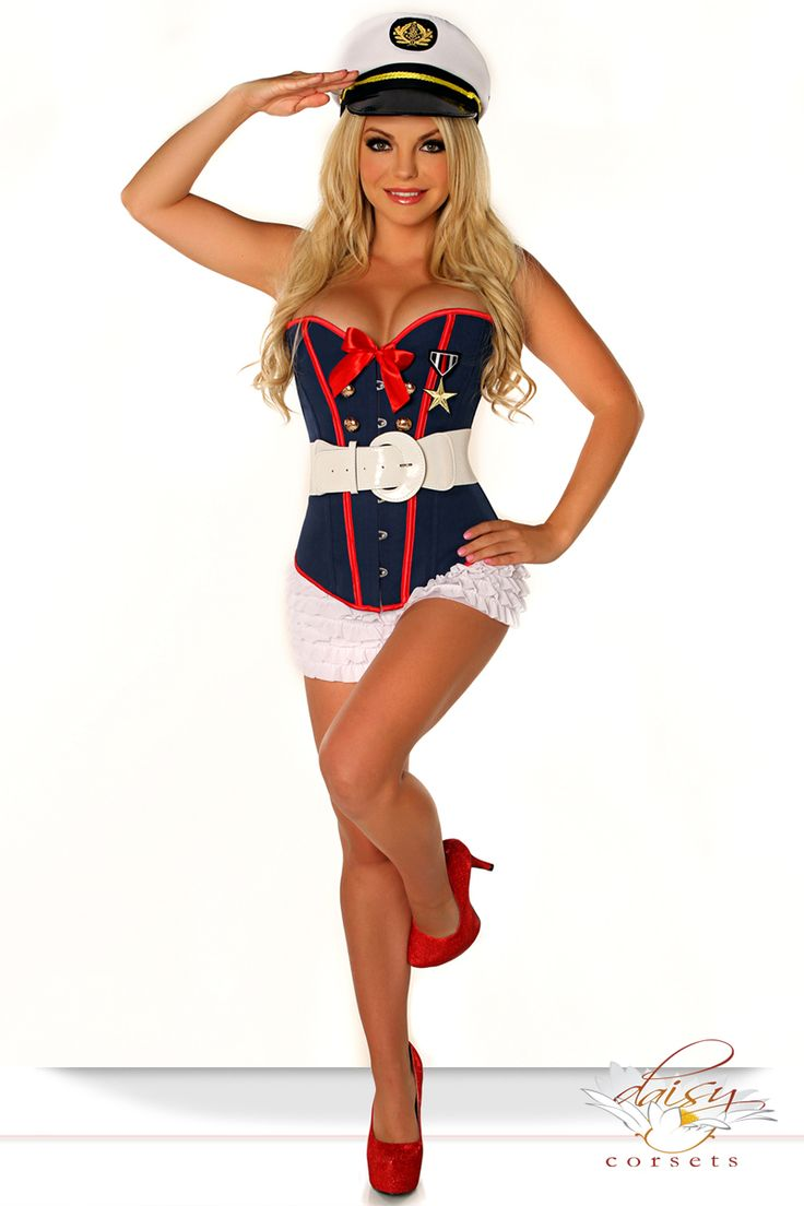 CUTE! AND sizes from XS to Plus sizes 6X.. Corset Marine Costume - 4 Pieces