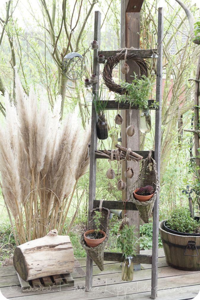 natürliche Osterdekoration, eine alte Holzleiter in Szene setzen {DIY}
