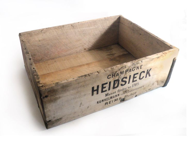 French Heidsieck Reims Champagne Wood Crate, Wooden Trunk, Ad Storage Container Box, Loft Industrial Decor, Rustic Shelf