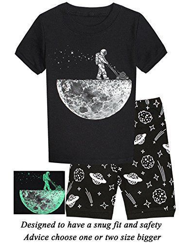ladato Boys Pajamas Space Glow In The Dark Short Toddler Summer Clothes Kids PJS Sleepwear - Material:100% CottonCondition: 100% brand newSize:sutiful for 12M-12 Years BabyQuantity: 1 Short Sleeve T Shirt+1 Short PantsThese Pajamas are snugly fitted pajamas, When buying please consider that because it is snug fitting if your child is above average you should buy a size bigger #toddlersleepwearboy