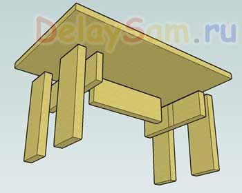 Простая самодельная скамеечка (лавочка). Как сделать скамейку или лавку из подручного материала.