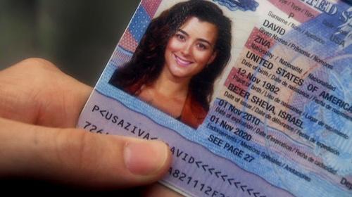 Ziva's new passport, with cote de Pablo's actual birthdate!