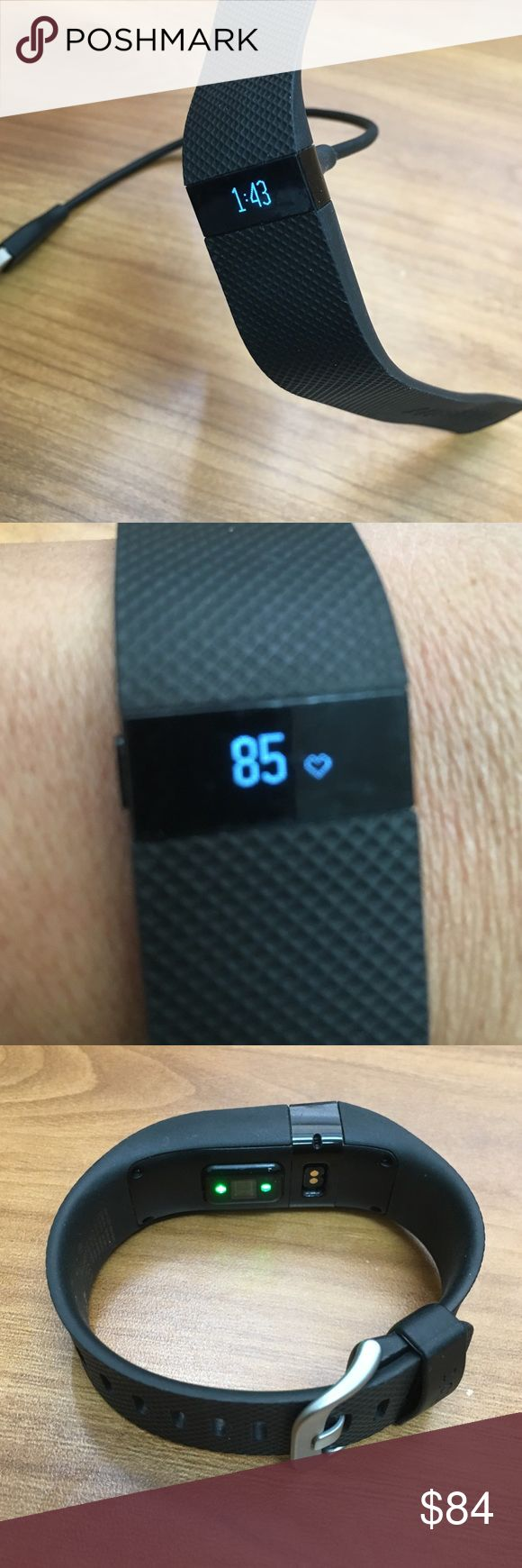 OFFER ME ❤️ Fitbit Charge HR Small Black ☀️ MAKE AN OFFER ☀️Not new! Please see pictures, good condition just normal wear on screen & belt. Ask before purchase Include charger and dongle. I charge this every night on my night Stand and don't get out of bed without it Price reflects condition High-performance wristband with automatic heart rate and activity tracking right on your wrist See heart rate to get more accurate calorie burn Track steps distance floors climbed, sleep quality…