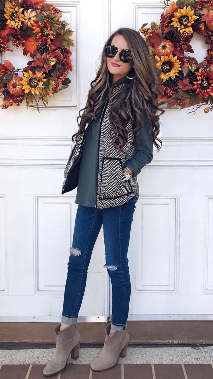 Cute casual outfit. | Fall outfits | Fashion, Vest outfits ...