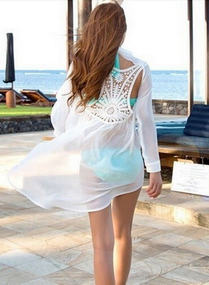 Фото Туника рубашка белая открытая спина 1490 руб.