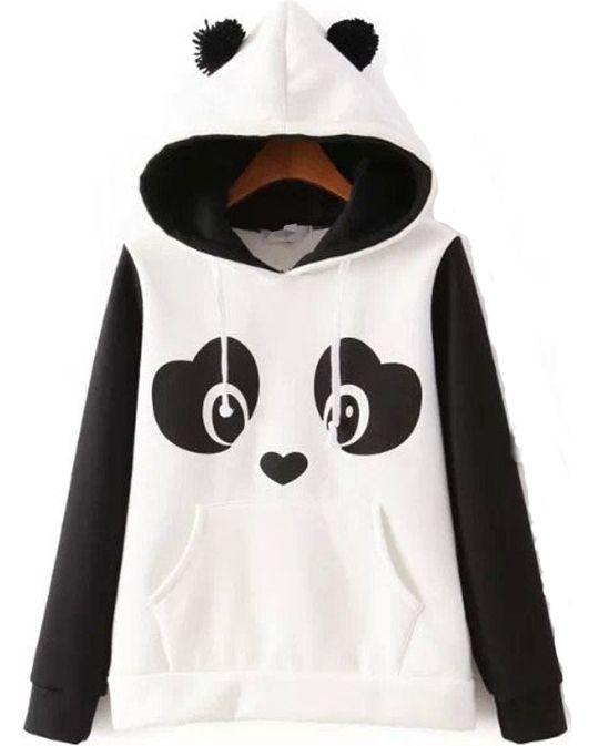 Sudadera Panda manga larga-blanco 21.00