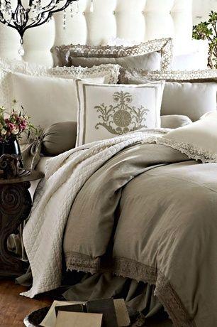 Traditional Master Bedroom with Hardwood floors, Chandelier