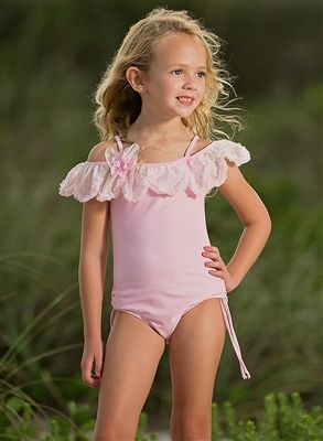 f01edc340 Isobella and Chloe Mermaid Dance Off the Shoulder One-Piece Swimsuit in  Light Pink | Spring/Summer Styles 2018 Girls' Boutique Clothing | Trendy  kids, ...
