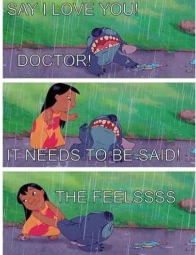 Lilo and Stitch perfectly representing my thoughts on The Doctor and Rose