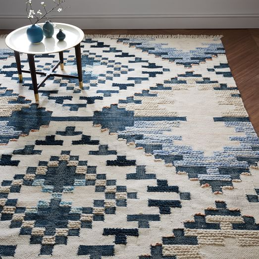 Checkerboard Diamond Wool Dhurrie, Midnight, 5'x8'